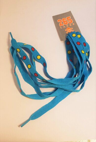 Шнурки 265 LACES blue to red and yellow polka dots