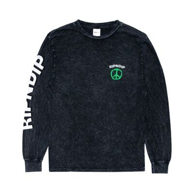 Лонгслив Ripndip Peace No Love Long Sleeve Black Mineral Wash