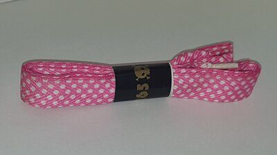 Шнурки 265 LACES pink white polka dots