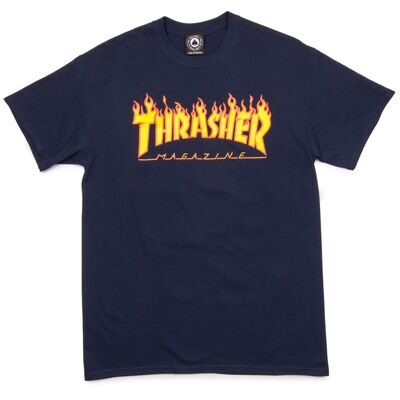Футболка Thrasher Flame Logo Navy Blue
