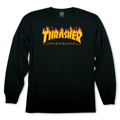Лонглсив Thrasher Flame Logo Ls Black